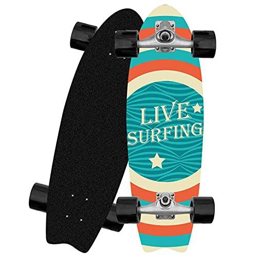 GUANGE Carving Skateboards Cruiser Monopatin 82 × 26 cm 8 Capas de Maple Surfskate CX4 Truck Pumping Surf Longboard con Rodamientos ABEC-9 y Rodillos de PU 78A para Principiantes Adultos y jóvenes