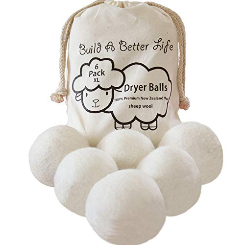 Updated Version(Made of The Latest Shearing)-Wool Dryer Balls-Pack of 6 XL,100% Premium Reusable New Zealand Natural Fabric Softener,Saves Drying Time, Handmade Dryer Balls-100% Satisfaction