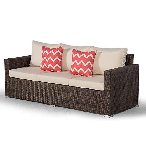 Giardino Sydney Brown Rattan 3 Seater Sofa | Large Poly Rattan Garden Sofa | Patio Outdoor Rattan Sofa with All Weather Garden Furniture Cover