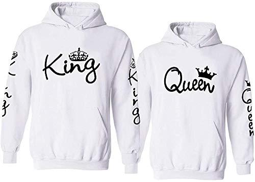 Couple Camp King Queen Hoodie Pullover Set für Pärchen (Queen Damen, Weiß XS)
