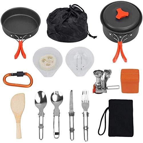 XHLLX Juego De Utensilios De Cocina De Aluminio De Picnic Al Aire Libre, con Estufa De Carabajos De Vajillas, Cocinar Picnic Pot SART Portable Compact