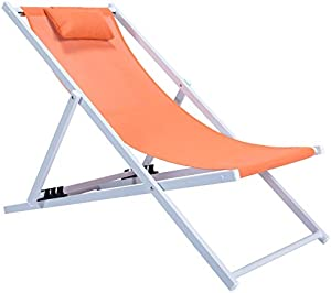 LeisureMod Outdoor Sling Lounge Chair with Headrest in Orange