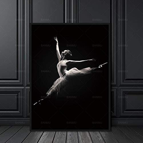 RTCKF Leinwand Malerei Wandkunst Dekoration für das Wohnzimmer Neuankömmlinge Die Frau Tanz Modern Print Malerei Bild 50x70CM (Rahmenlos)