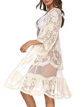 Women s Floral Crochet Lace Beach Swimsuit Cover Ups Long Vintage Kimono Cardiga Apricot