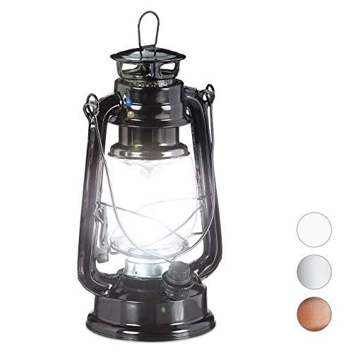 Relaxdays stormlantaarn, LED, retro stormlamp als raamdecoratie of elektrische tuinlantaarn, werkt op batterijen, zwart