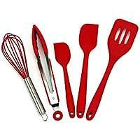 5-Piece CSY Stainless Steel Kitchen Utensils Silicone Spatula Set