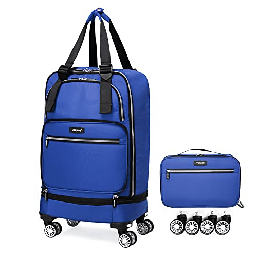 wheeled spinners Foldable Luggage Bag with Spinner wheels,Expandable Collapsible Rolling Duffel Bag,Carry On Luggage 22x14x9/Checked Luggage for Travel (2 in 1), Blue