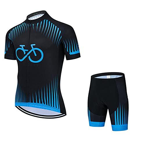 HXTSWGS Trajes de Jerseys de Ciclismo para Hombre, Equipo de Ropa de Bicicleta de Manga Corta de Verano Trajes de Ciclismo con Cremallera completa-A08_S