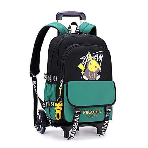 Mochila impermeable con ruedas para niños, mochila escolar, ligera, bolsa de gran capacidad, casual, bolsa de rodillo multifuncional, I-30 x 15 x 45 cm