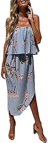 Dames schouder Boho jurk dame jurk zomer strandjurk mode basic gratis schouder strapless borst jurk met bloemenprint strandjurken feestjurken casual cocktailjurk, Blauw, S
