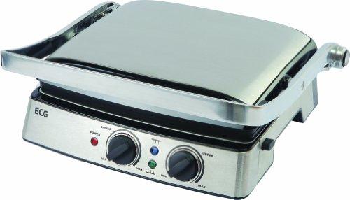 ECG KG 200 Grill, 2000 W, 3 bedrijfsstanden, 2 onafhankelijke thermostaten (tot 220 °C), uitneembare grillplaten, roest.