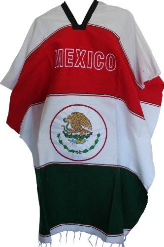 Viva Mex Woven Mexican Flag Soccer Poncho Mexico White