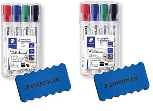 Staedtler Lumocolor - Rotuladores para pizarra blanca (4 colores, punta biselada)