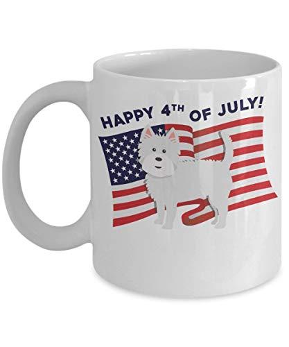 N / A Feliz 4 de Julio Taza de Westie EE. UU. Westie - Taza Divertida de Westie Regalos de Westie Taza de West Highland White Terrier Westy