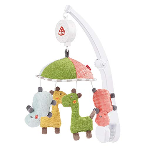 Fehn 059212 Reise-Musik-Mobile LOOPY & Lotta/ Spieluhr-Mobile zum Mitnehmen – Flexible Anbringung an Reisebett & Kinderbett – für Babys und Kleinkinder von 0-5 Monaten, Mehrfarbig