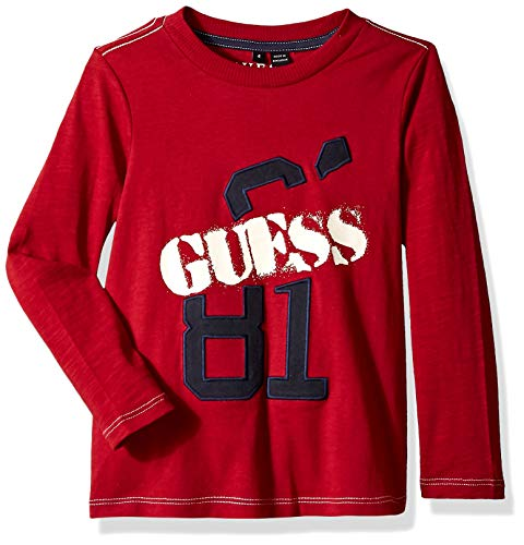 GUESS Boys' Little Long Sleeve Slash Graphic Logo T-Shirt, Victoria red, 6
