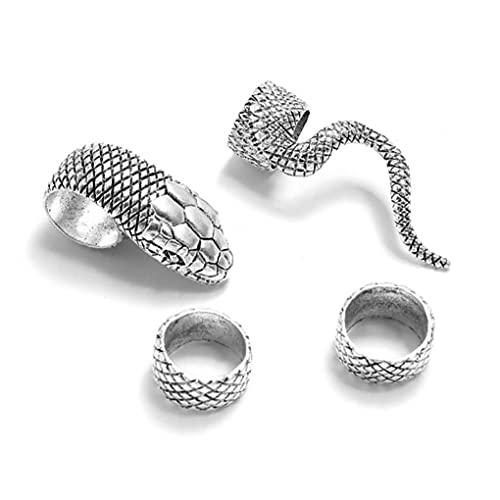 4 Teile/Satz Schlangenring Set Für Mädchen Männer Vintage Punk Metall Knuckle Joint Ringe Nagelband Manschette Zehenfinger Frauen Party Schmuck Geschenk