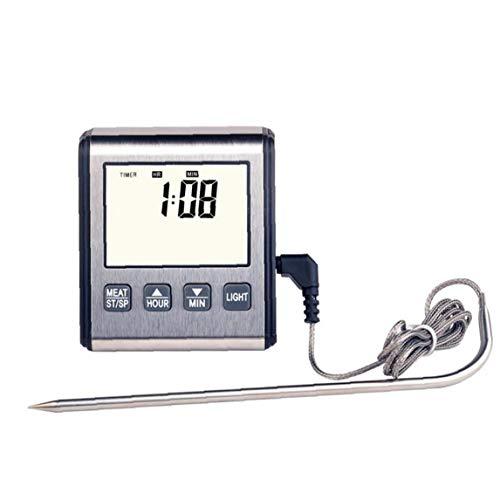 Nicetruc Sonde Digitale Kochen Fleisch-Thermometer Große LCD-Hintergrundbeleuchtung Essen Grill-Thermometer mit Timer-Modus für Raucher Küche Ofen Grill