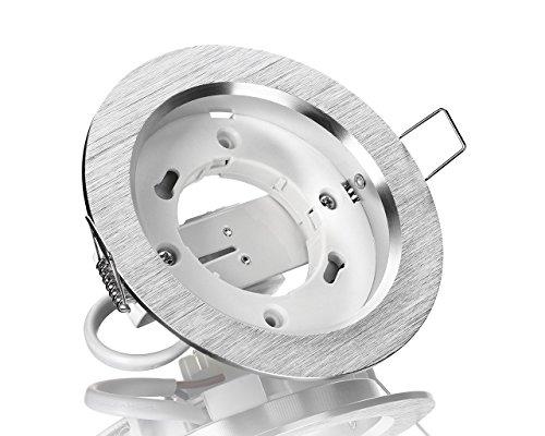 Alu Einbaurahmen GX53 Superflach Einbaustrahler Aluminium farbe Alugebürstet 230V LED SMD Leuchtmittel geeignet