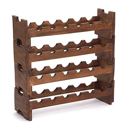 WIJNREK 4er set Element | 24 flessen, 70x68x20 cm (BxHxD), uitbreidbaar, oud hout | flessenrek voor het stapelen in armoedig design
