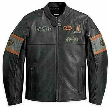 HDMM Harley Davidson - Chaqueta de piel auténtica para motociclista