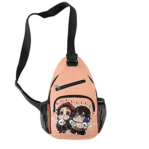 TIEHH Bookbag Sport Pack de Laterales Anime Demon Slayer Moda Impermeable Oxford Boys Girls Bolsas de Pecho Unisex Lindo Deportes Bolsa de Viaje Crossbody Bolsa de Hombro