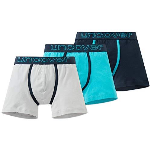 Schiesser Jungen Multipack 3Pack Shorts_166034 Boxershorts, Mehrfarbig (Blau/Weiß), L (3er Pack)