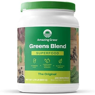 Amazing Grass Green Superfood: Super Greens Powder with Spirulina, Alfalfa, Digestive Enzymes & Probiotics, Original, 100 Servings