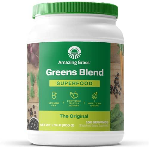 Amazing Grass Greens Blend Superfood: Super Greens Powder with Spirulina, Alfalfa, Beet Root Powder, Digestive Enzymes & Probiotics, Original, 100 Servings (Packaging May Vary)