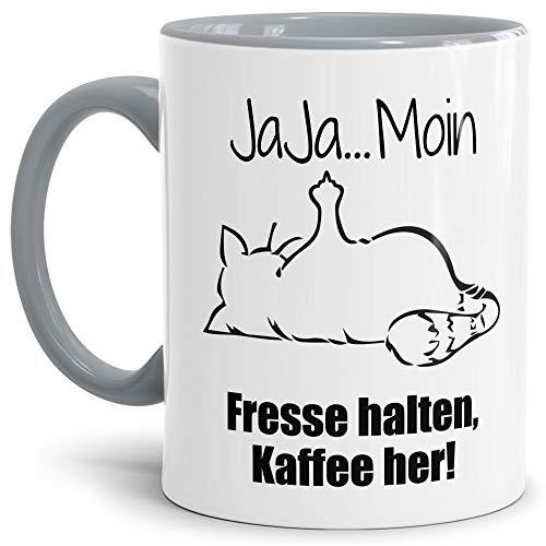 Tasse mit Spruch - Nö-Katze Ja Ja Moin - lustige Tasse für die Arbeit/Bürotasse/freche Tasse mit Katze/Geschenkidee lustig - Innen & Henkel Grau