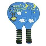 LIOOBO 1 Paire de Balle de Plage Raquette Durable Pratique en Bois Jeu Raquette Badminton Raquette de Badminton Raquette pour la Plage en Plein air (Couleur aléatoire)
