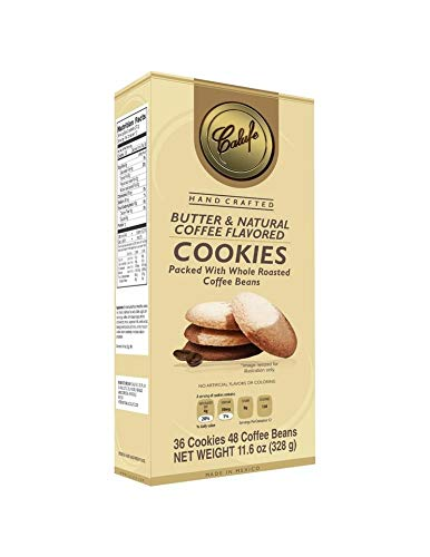 Calufe Butter & Coffee Cookies, 36 cookies (11.6 oz), Handcrafted with Real Butter and Natural Coffee, packed with whole roasted coffee beans