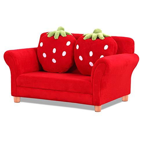 Neborn Kindersofa Kindersessel Sofa Couch Kinder Stuhl Kinderzimmer Softsofa Doppelsofa Einzelsofa Size Doppel (Rot)
