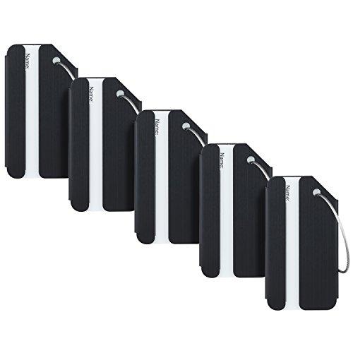 Travelambo Luggage Tags & Bag Tags Stainless Steel Aluminum Various Colors (Black 5 pcs Set)