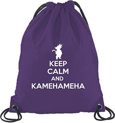 Shirtstreet24, Keep Calm And Kamehameha, Turnbeutel Rucksack Sport Beutel, Größe: onesize,Lila