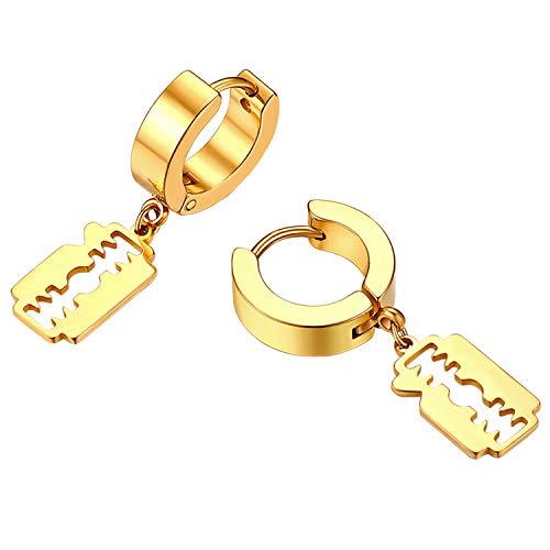 Flongo Herren Ohrstecker Creolen Damen Ohrringe Ohrhänger aus Edelstahl in Gold Stecker mit hängenden Rasierklinge Klinge Anhänger Männer, Frauen