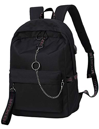 Mygreen College Laptop Backpack Under 15.6-inch with USB Charging Port and Place on Luggage Design for Youth Unisex Emboidery Ribbons School Bag Black