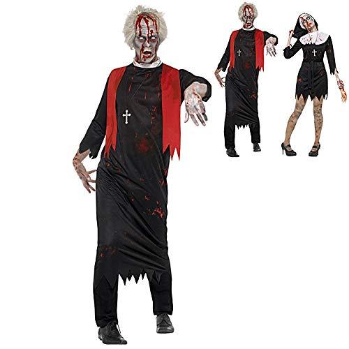 Paare Halloween-Kostüm-Erwachsener Horror blutiger Zombie Kostüm Outfits Nonne und Priester Cosplay Partei-Dress Up Performance-Bekleidung für Halloween Karneval,B,M