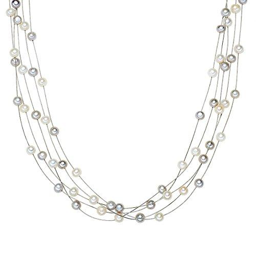 Valero Pearls Damen-Kette Hochwertige Süßwasser-Zuchtperlen in ca. 6 mm Oval weiß/grau 925 Sterling Silber 43 cm - Perlenkette mit echten Perlen mehrreihig 400320