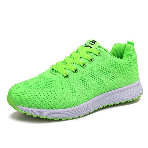 WYSFLY Damen Turnschuhe Sportliche Laufschuhe Schnürschuhe Atmungsaktive Outdoor Cross Trainer zum Joggen Grün 37 EU