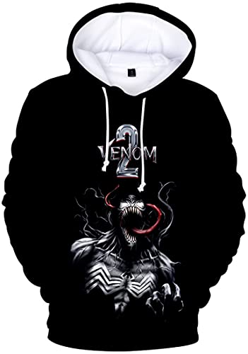 EMLAI Jungen 3D Druck Venom Hoodie Kapuzenpullover Venom Motiv mit Fleece (100, Schwarz-88)