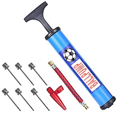 """10"""" Inflating Ball Pump Air Pump with 6 Pcs Needles and 1 Pcs Valve Adapter 1 Pcs Air Hose for Football Soccer Basketball Volleyball Rugby Balloons and Other Inflatable"""
