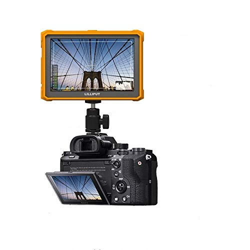 Lilliput A7s Field Monitor Full HD 7 Inch 4K Camera Assist Full HD 1920x1200 LCD IPS 4K HDMI Yellow Rubber case with 12V A/C Adapter