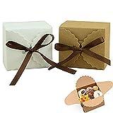 Nuluxi Geschenkschachtel Kartonage Geschenkverpackung Kraftpapier Kraft Boxen Geschenkverpackung Box with Ribbon Geeignet für Bonbons Imbiss Keks Hochzeit Geburtstag Party Weihnachten (20 Stück