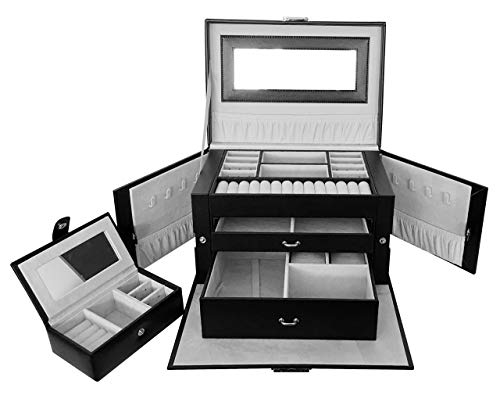 ABO Gear Jewelry Organizer Jewelry Box Jewelry Case Organizer Jewlery Organizers Storage with Lock, Black/Grey Pu Leather