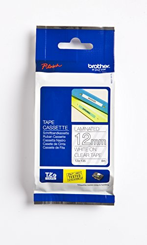 """Brother Genuine P-Touch TZE-135 Tape, 1/2"""" (12 mm) Standard Laminated P-Touch Tape, White On Clear, Laminated for Indoor or Outdoor Use, Water-Resistant 26.2 ft (8 m), Single-Pack"""