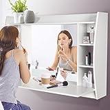 Schminktisch mit Spiegel - Spiegel 67 x 45 cm, Tischplatte 107 x 48 cm, 6 kleine Fächer + 1 große Ablagefläche, Weiß - Frisiertisch, Frisierkommode, Kosmetiktisch, Wandschminktisch, Schminkkommode