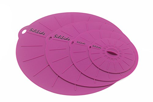 "Microwavable Silicone Sealing Lids, by Sililids. Pure Silicone BPA Free Plastic Alternative for Food Storage & Oil Splatter Protection. Dishwasher Safe. Set of 4: 4"", 6"", 8"", 10"""