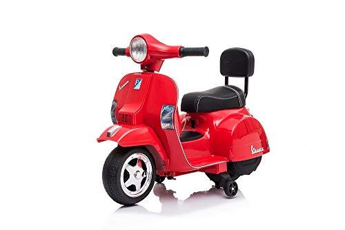 Tecnobike Shop Moto Scooter Elettrico per Bambini Piaggio Vespa Mini PX 6V - Luci Suoni (Rosso)