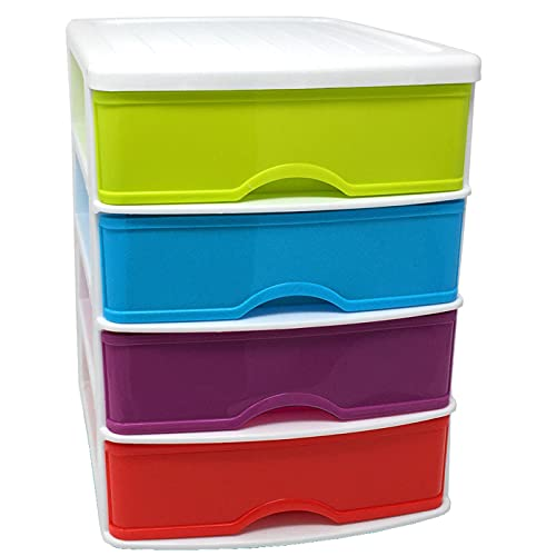 Plastic Forte - Cajonera de sobremesa de plástico blanco, 4 cajones multicolor, 35 x 27 x 35,5 cm, torre almacenaje multiusos, organizador auxiliar, almacenamiento escritorio, armario, baño, oficina